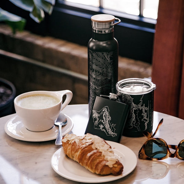 20oz Stainless Steel Insulated Bottle with Bamboo Top in Black with Custom Engraving of Map on Table with Flask Cup