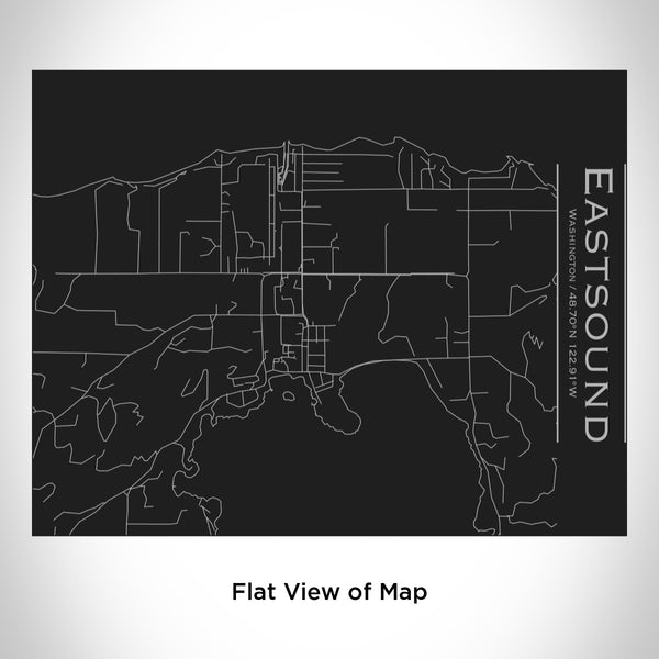Rendered View of Eastsound Washington Map Engraving on 20oz Stainless Steel Insulated Bottle with Bamboo Top in Black