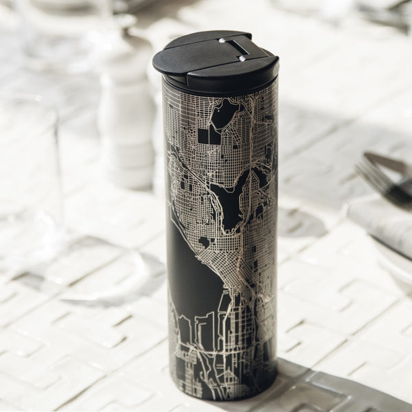 17oz Stainless Steel Insulated Tumbler in Black with Custom Engraving of Map on Table Setting
