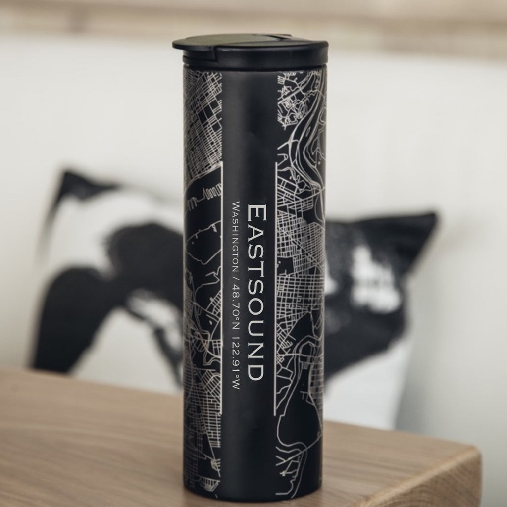 Eastsound Washington Custom Engraved City Map Inscription Coordinates on 17oz Stainless Steel Insulated Tumbler in Black