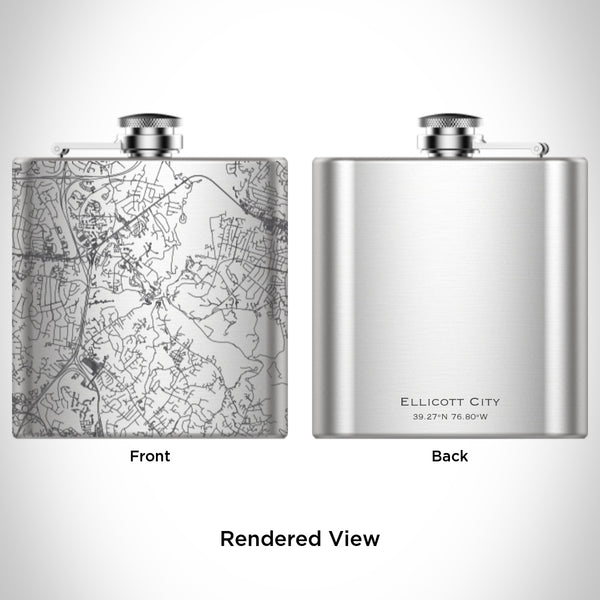 Ellicott City - Maryland Map Hip Flask