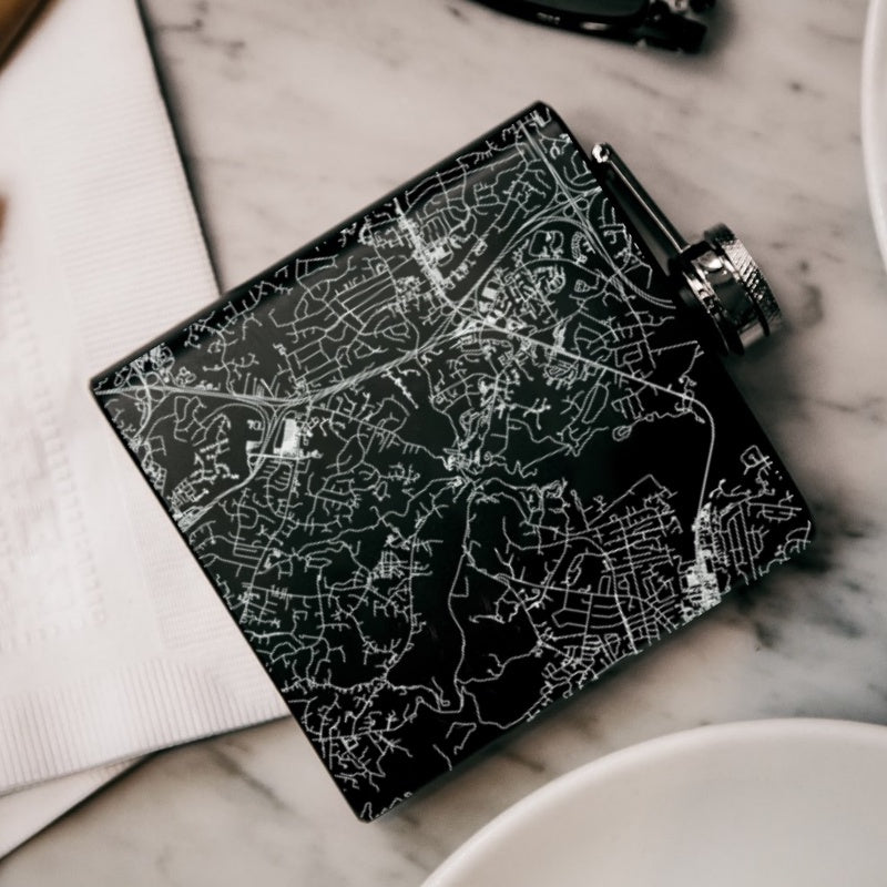 Ellicott City - Maryland Map Hip Flask in Matte Black