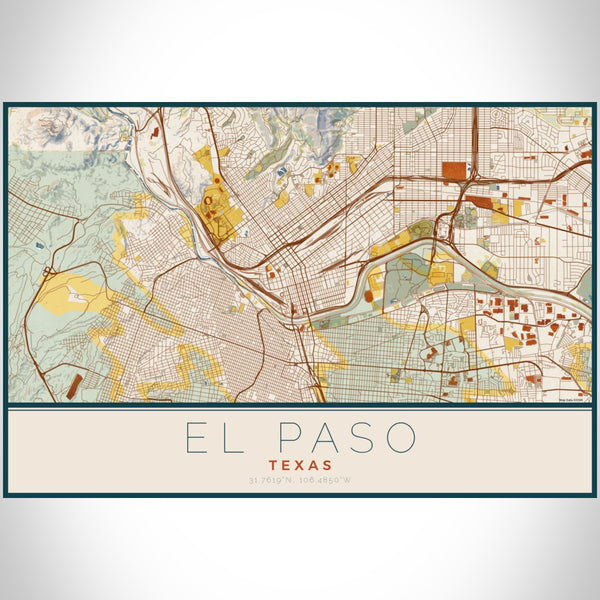 El Paso - Texas Map Print in Woodblock