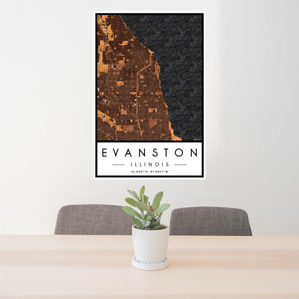 Evanston - Illinois Map Print in Ember