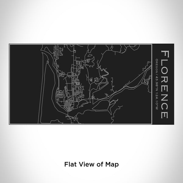 Rendered View of Florence Oregon Map Engraving on 17oz Stainless Steel Insulated Cola Bottle in Black