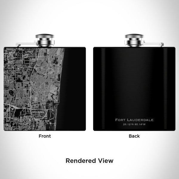 Fort Lauderdale - Florida Map Hip Flask in Matte Black