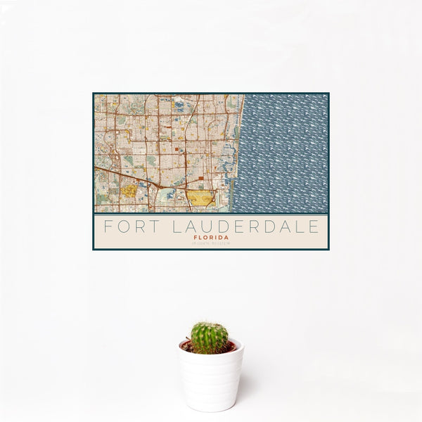 Fort Lauderdale - Florida Map Print in Woodblock