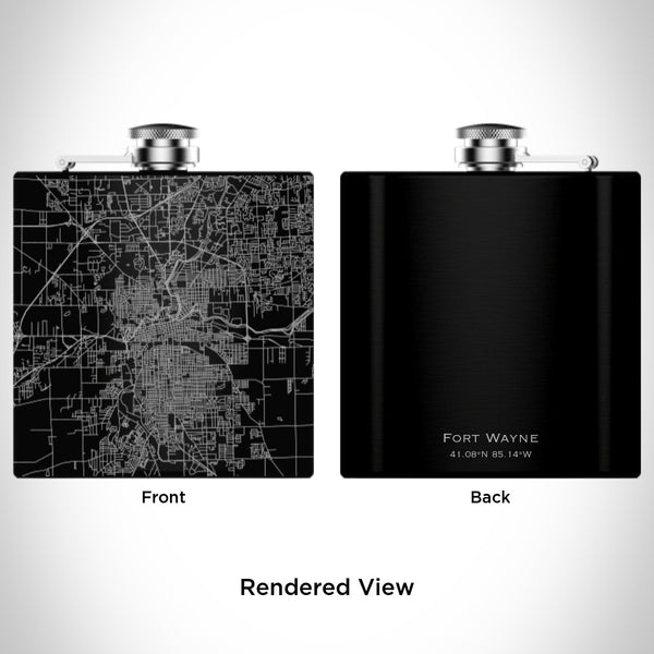 Fort Wayne - Indiana Map Hip Flask in Matte Black