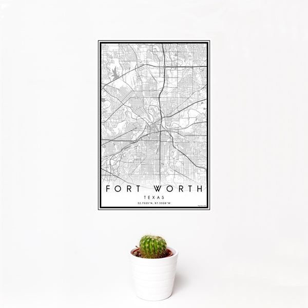 Fort Worth - Texas Classic Map Print