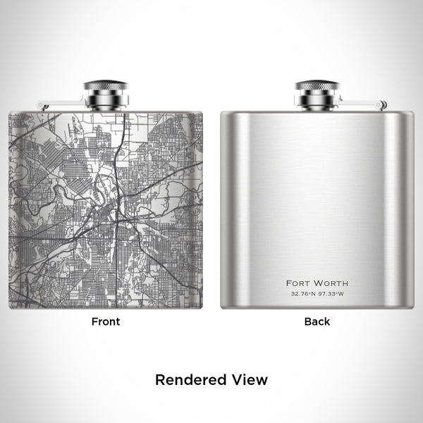 Fort Worth - Texas Map Hip Flask