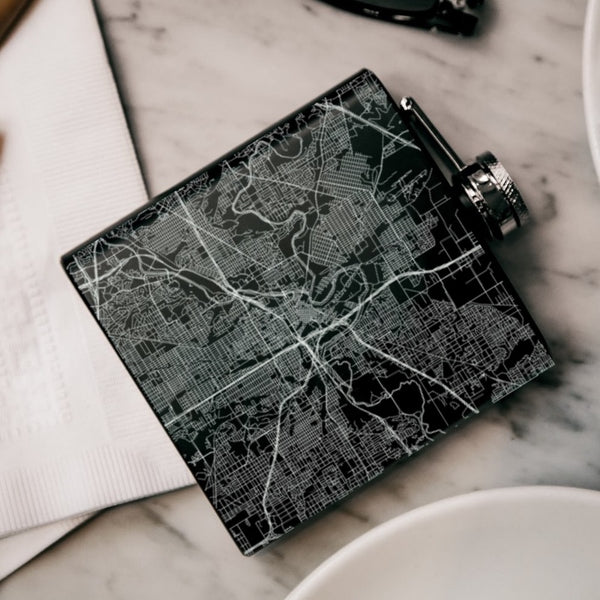 Fort Worth - Texas Map Hip Flask in Matte Black