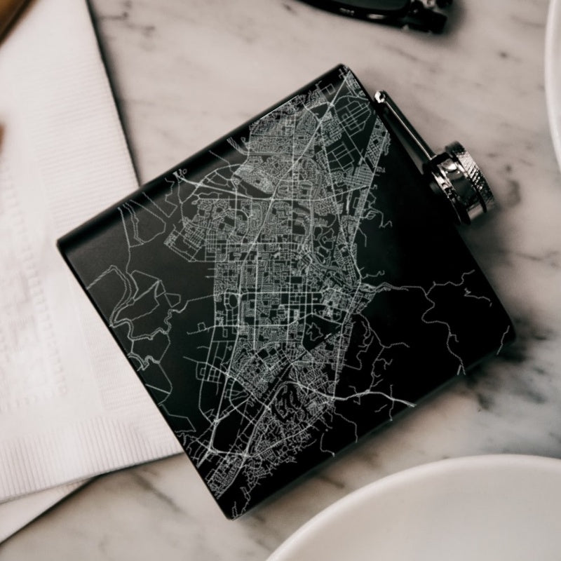 Fremont - California Map Hip Flask in Matte Black