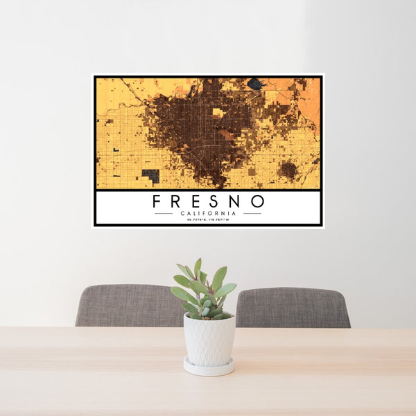 Fresno - California Map Print in Ember