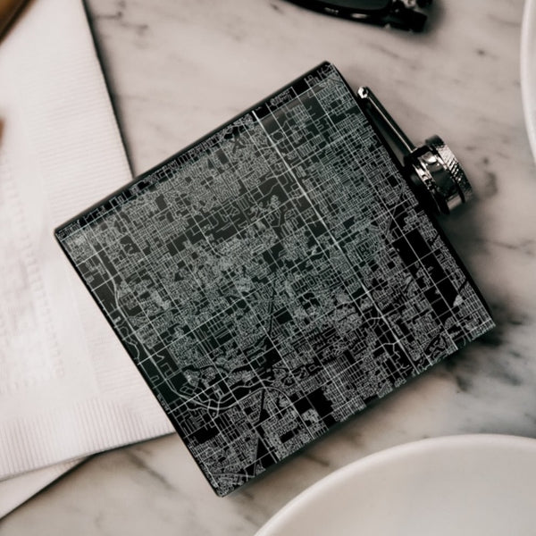 Gilbert - Arizona Map Hip Flask in Matte Black