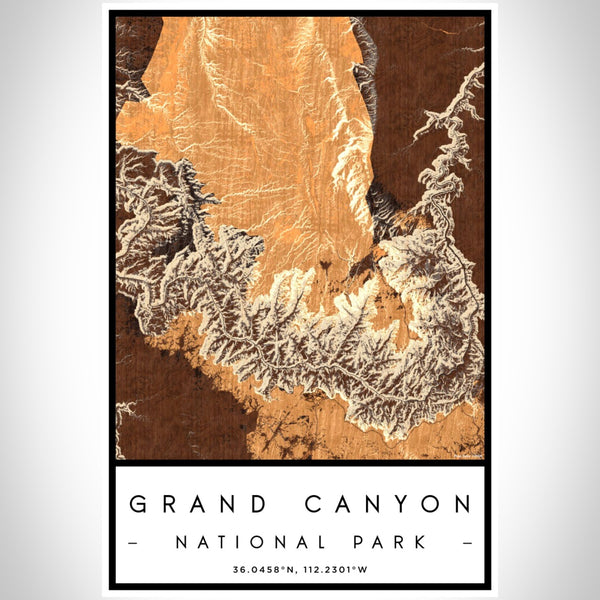 Grand Canyon - National Park Map Print in Ember
