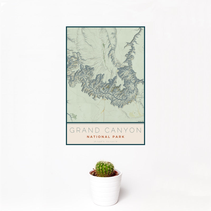 Grand Canyon - National Park Map Print in Woodblock