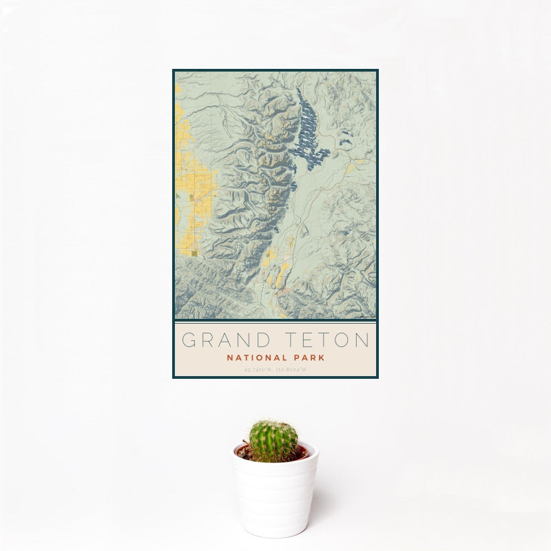 Grand Teton - National Park Map Print in Woodblock