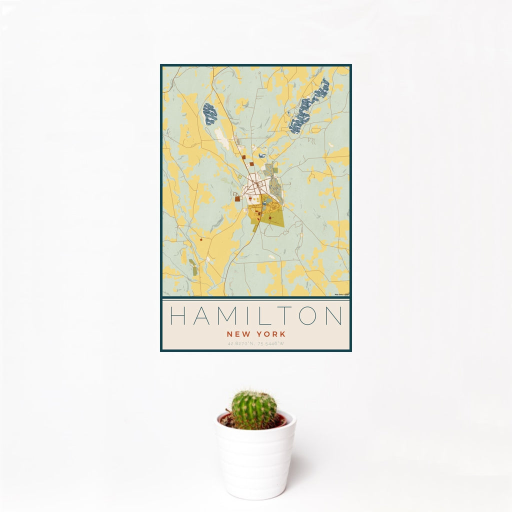 12x18 Hamilton New York Map Print Portrait Orientation in Woodblock Style With Small Cactus Plant in White Planter