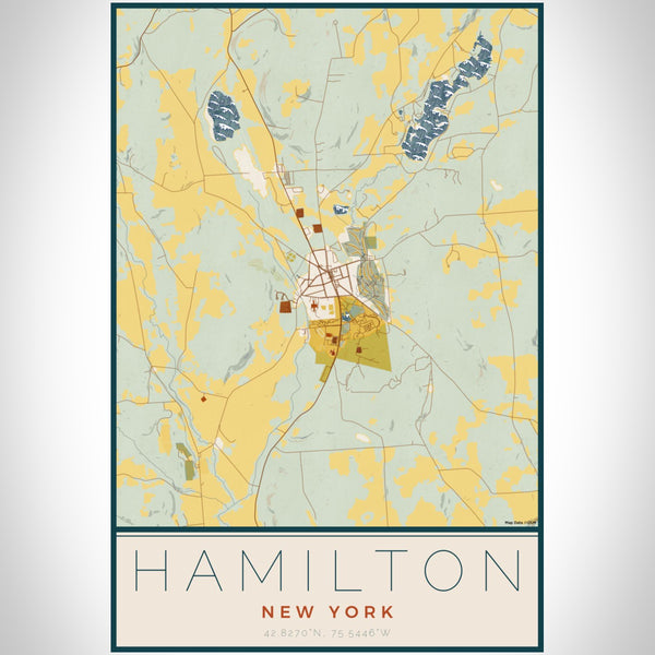 Hamilton New York Map Print Portrait Orientation in Woodblock Style With Shaded Background