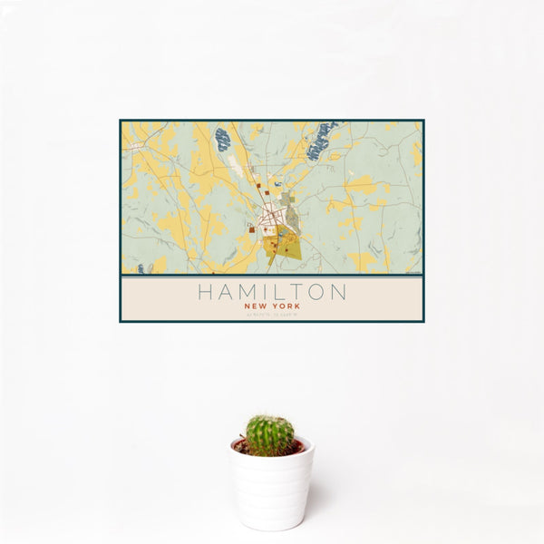 12x18 Hamilton New York Map Print Landscape Orientation in Woodblock Style With Small Cactus Plant in White Planter