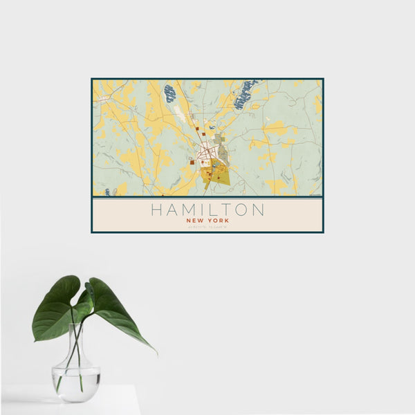 16x24 Hamilton New York Map Print Landscape Orientation in Woodblock Style With Tropical Plant Leaves in Water