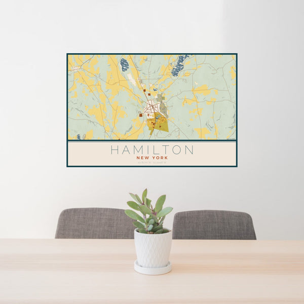 24x36 Hamilton New York Map Print Landscape Orientation in Woodblock Style Behind 2 Chairs Table and Potted Plant