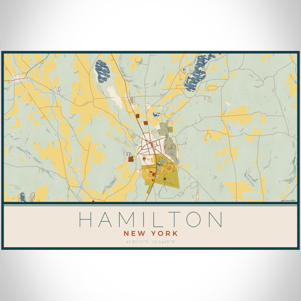 Hamilton New York Map Print Landscape Orientation in Woodblock Style With Shaded Background
