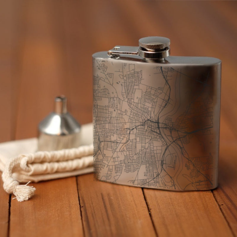 Hartford - Connecticut Map Hip Flask