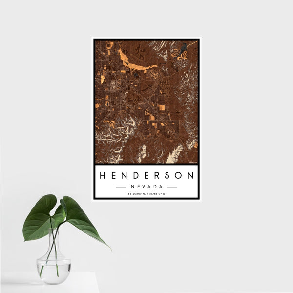 Henderson - Nevada Map Print in Ember