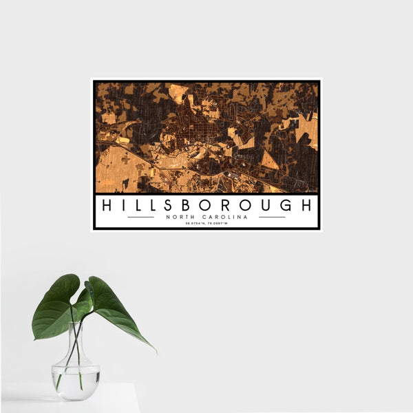 Hillsborough - North Carolina Map Print in Ember