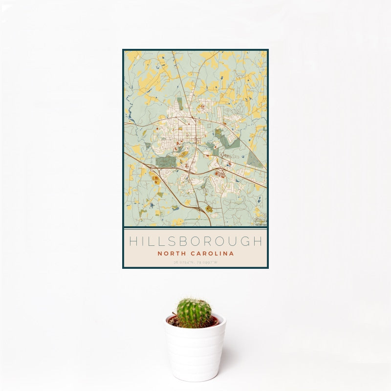 Hillsborough - North Carolina Map Print in Woodblock