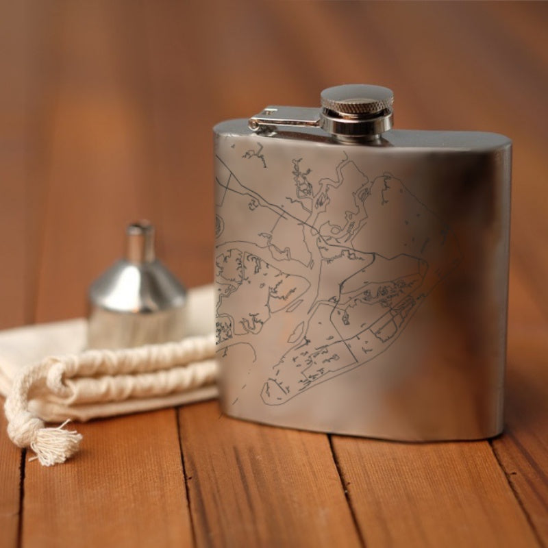 Hilton Head - South Carolina Map Hip Flask