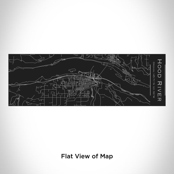 Rendered View of Hood River Oregon Map Engraving on 10oz Stainless Steel Insulated Cup with Sliding Lid in Black