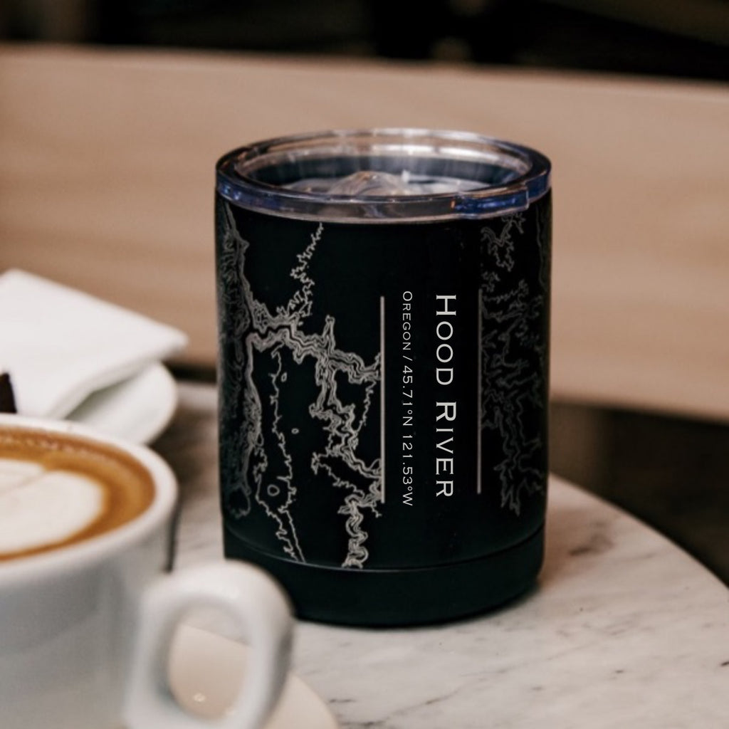 Hood River Oregon Custom Engraved City Map Inscription Coordinates on 10oz Stainless Steel Insulated Cup with Sliding Lid in Black