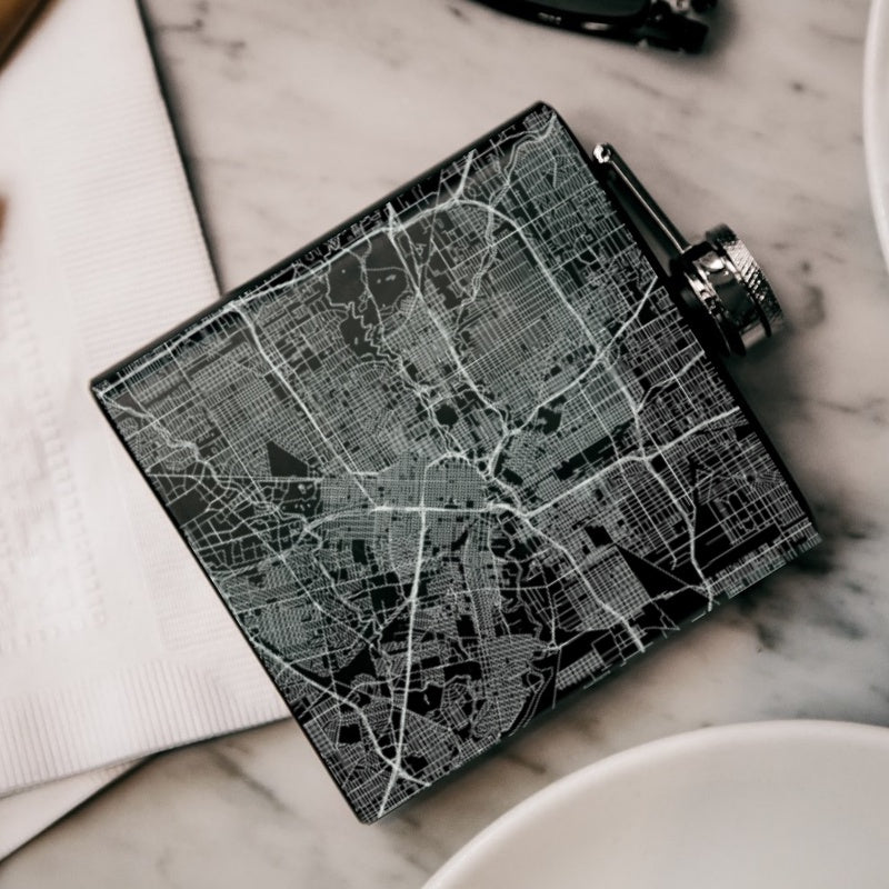 Houston - Texas Map Hip Flask in Matte Black