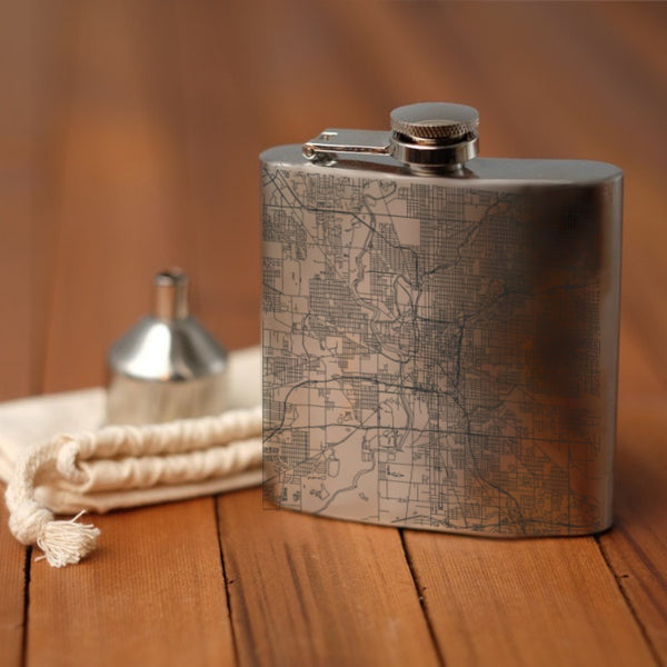 Indianapolis - Indiana Map Hip Flask