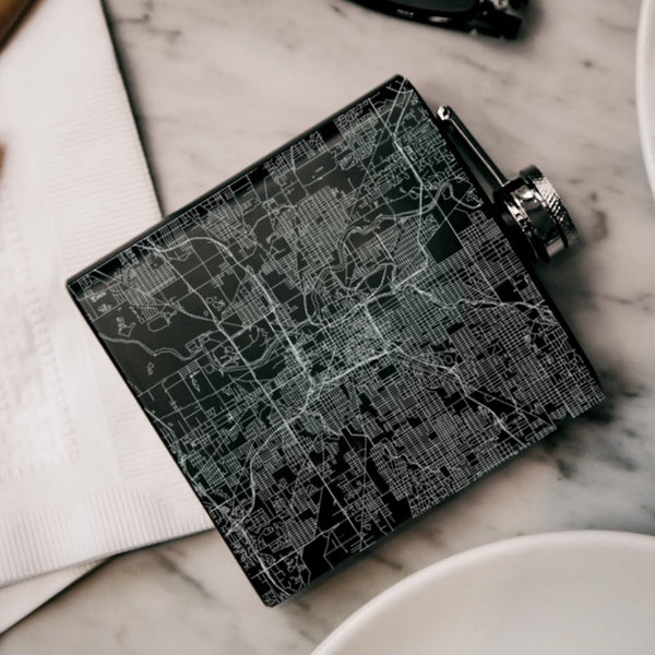 Indianapolis - Indiana Map Hip Flask in Matte Black