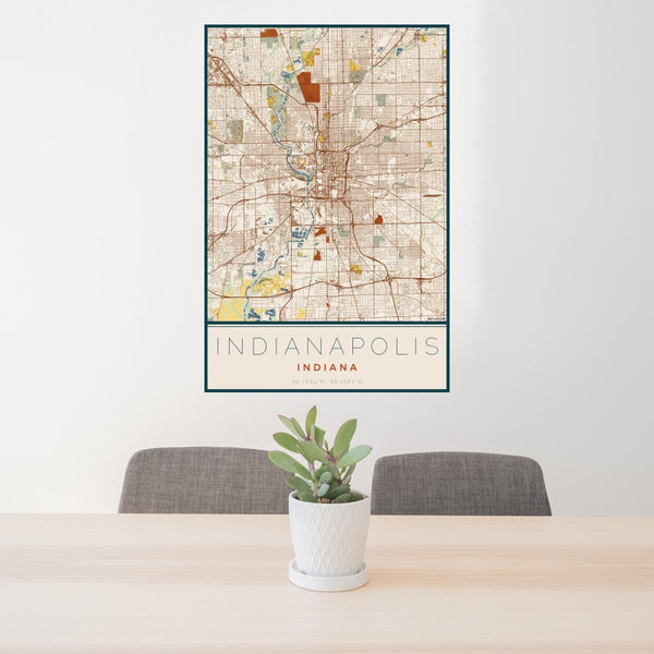 Indianapolis - Indiana Map Print in Woodblock