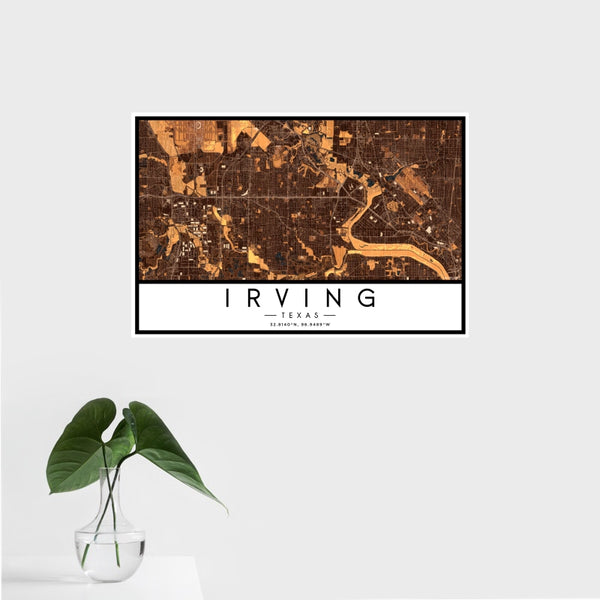 Irving - Texas Map Print in Ember