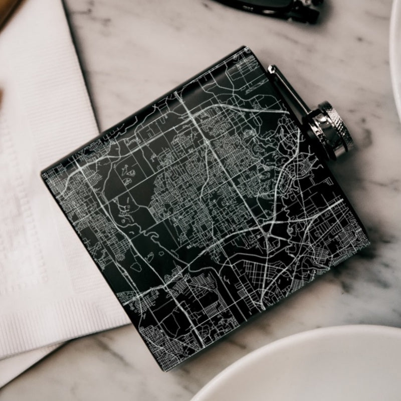 Irving - Texas Map Hip Flask in Matte Black