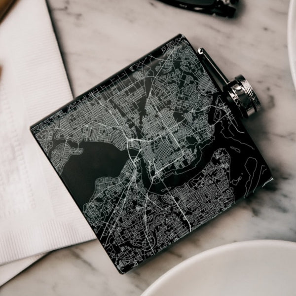 Jacksonville - Florida Map Hip Flask in Matte Black