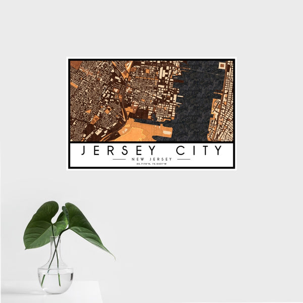 Jersey City - New Jersey Map Print in Ember