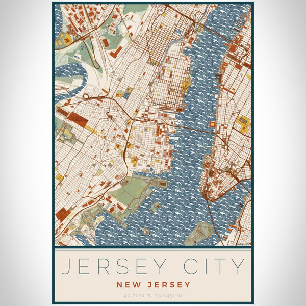 Jersey City - New Jersey Map Print in Woodblock