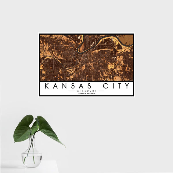 Kansas City - Missouri Map Print in Ember