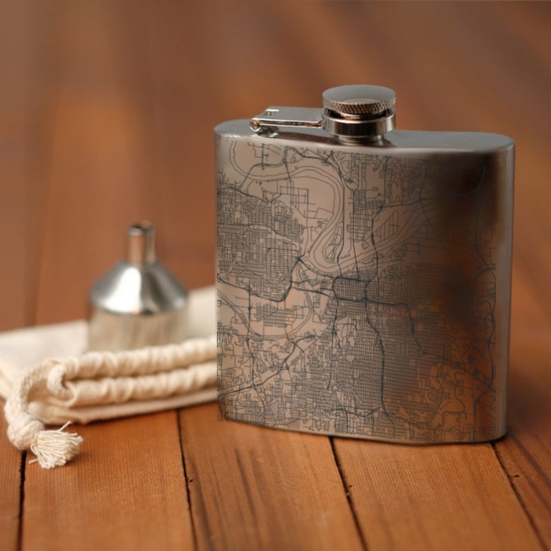 Kansas City - Missouri Map Hip Flask