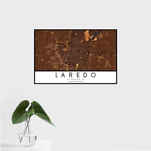 Laredo - Texas Map Print in Ember