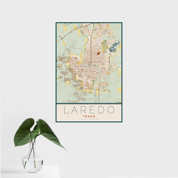 Laredo - Texas Map Print in Woodblock