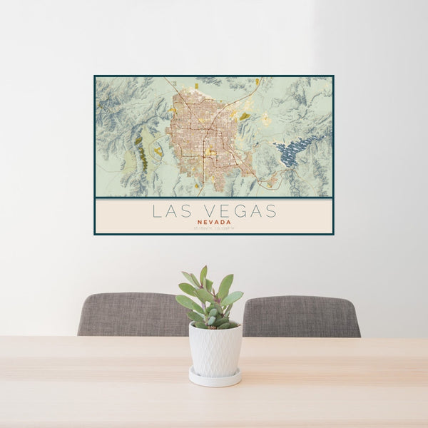 Las Vegas - Nevada Map Print in Woodblock