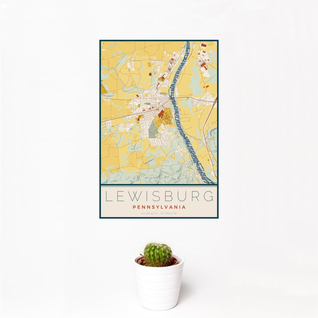 12x18 Lewisburg Pennsylvania Map Print Portrait Orientation in Woodblock Style With Small Cactus Plant in White Planter