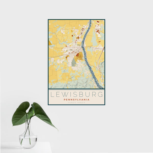 16x24 Lewisburg Pennsylvania Map Print Portrait Orientation in Woodblock Style With Tropical Plant Leaves in Water